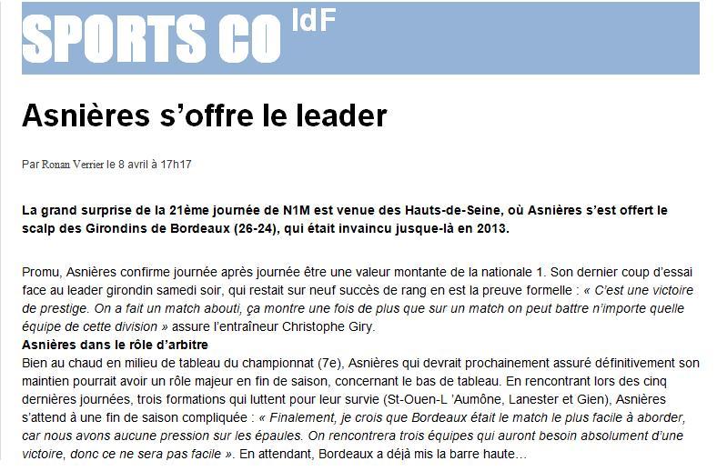 Article sur SPORTS CO Idf dans News asnieresbx